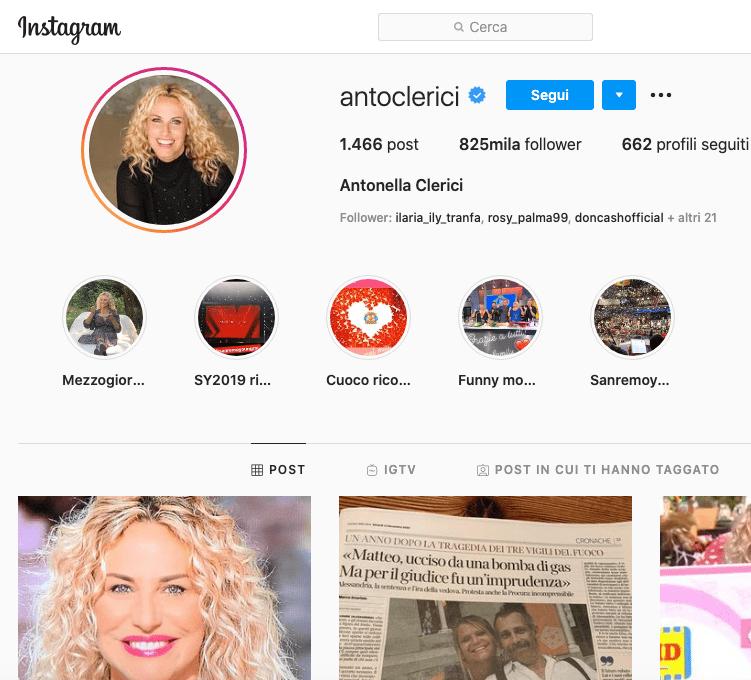 Antonella Clerici Instagram, scopriamo il profilo!