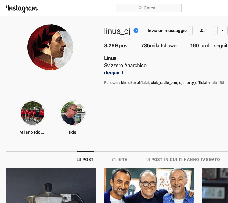 Linus instagram, un dj da 695mila follower