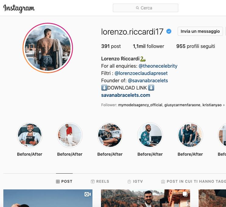Lorenzo Riccardi Instagram, scopriamo il profilo!