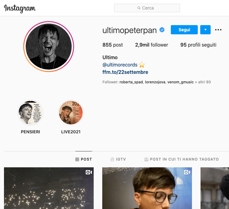 Ultimo Instagram, scopriamo il profilo!