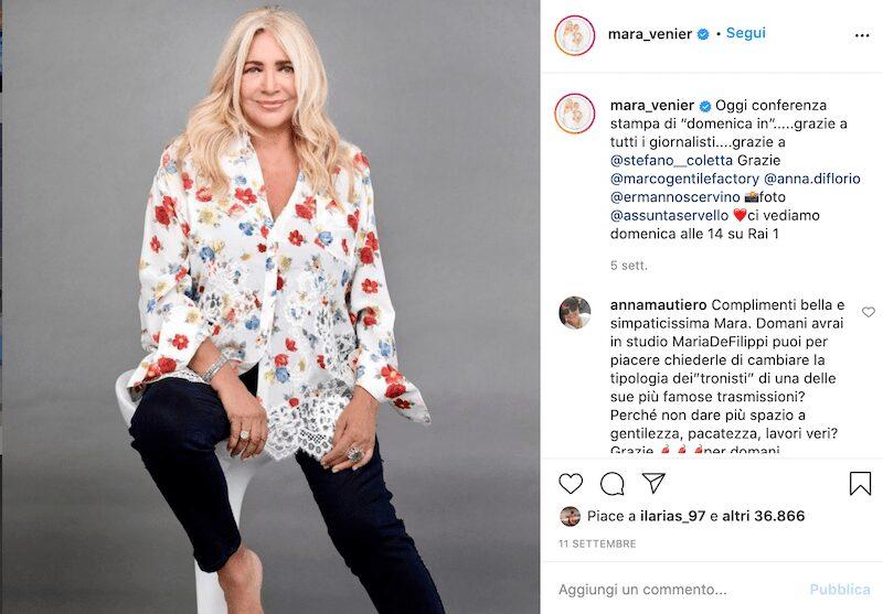 Mara Venier Instagram, scopriamo insieme il profilo!